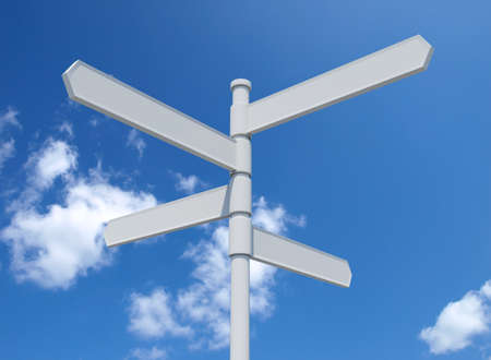 White blank signpost isolated on blue sky.