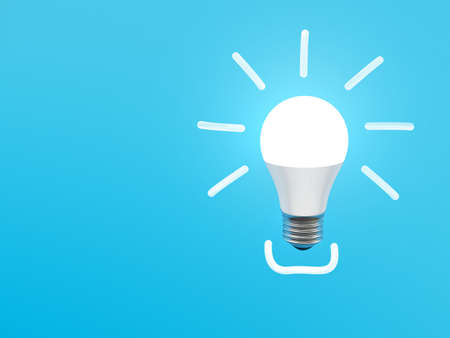 Light bulb on blue background. E 27. 스톡 콘텐츠