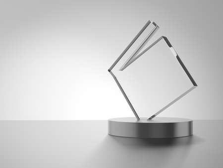 Glass award with metal base. 3d illustration. Movies. Clapperboard.