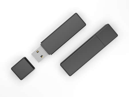 Black USB flash drive isolated on white background. Pen drive. Flash stick.