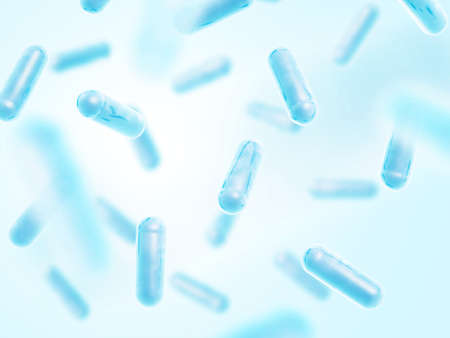 Probiotics. Lactobacillus acidophilus. 3d illustration. Blue color. 스톡 콘텐츠