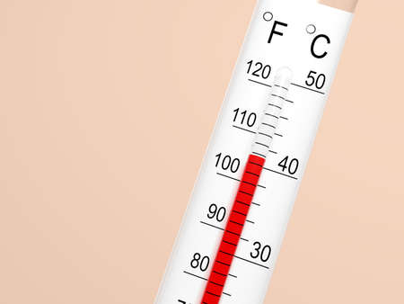 Thermometer shows above 40 degrees. Hot. Celsius and Fahrenheit. 3d illustration