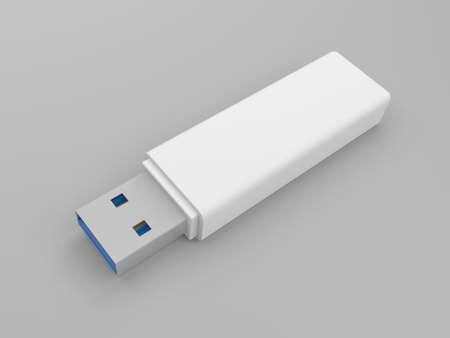 White USB flash drive isolated on white background. 3d illustration. Stock Photo