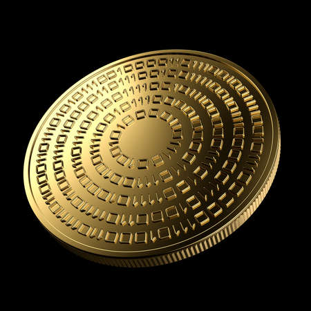 Cryptocurrency. Coin isolated on black background. Digital currency.