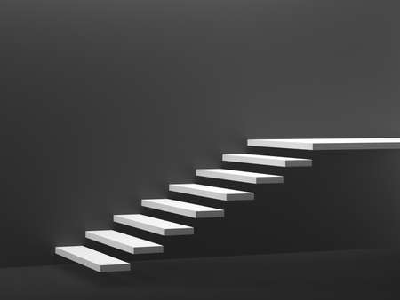 White stairs isolated on dark gray background. 3d illustration.