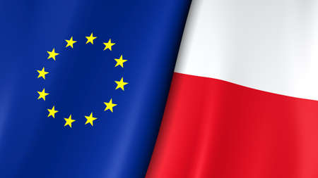 European flag and flag of Poland. Yellow stars on a blue. White and edited by Council of Europe. 3d illustration.