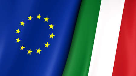 European flag and flag of Italy. Yellow stars on a blue. Council of Europe. 3d illustration. Foto de archivo