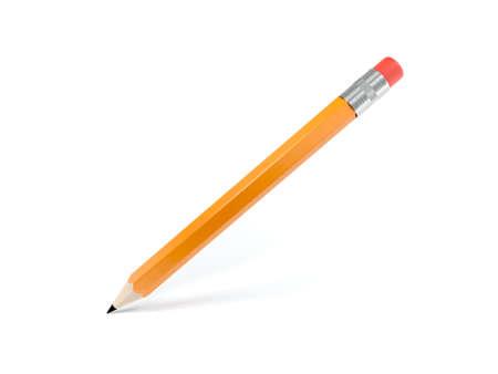 Pomarańczowy ołówek na białym tle. Gumka do mazania. ilustracja 3D.