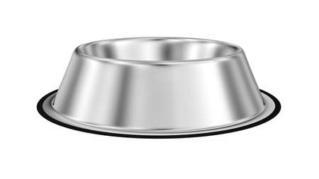 Stainless steel dog bowl isolated on white. 3d illustration.