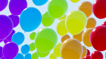 Rainbow balloons on blue sky. 3d illustration. Colorful.
