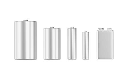 Batteries isolated on white background. Diffrent sizes and shapes. 3d illustration.