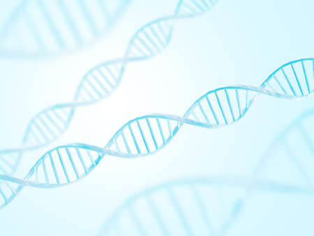 DNA structure. Abstract biotechnology background. Double helix. 3d illustration. Blue color. 写真素材