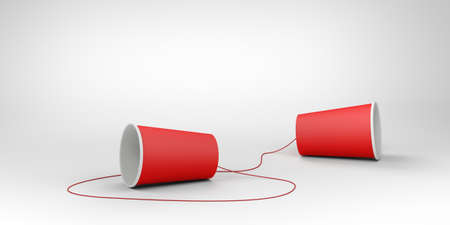 Red paper cups and non-stretchable string. Speech-transmitting device. 3d illustration.