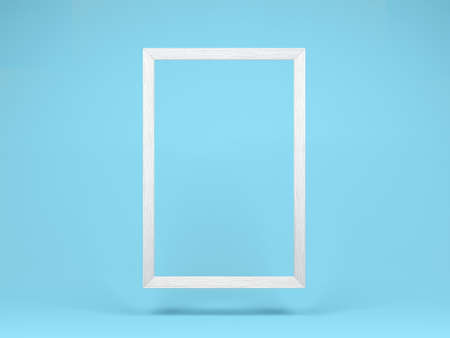 Hanging white wooden frame isolated on blue background. 3d illustration.