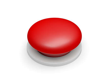 Red button isolated on white background. 3d illustration.