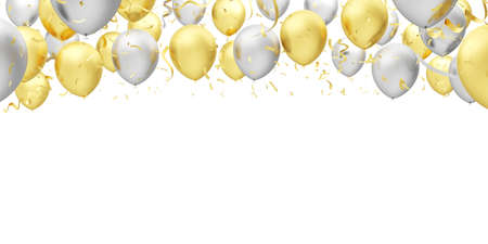 Silver and gold balloons isolated on white background. 3d illustration.
