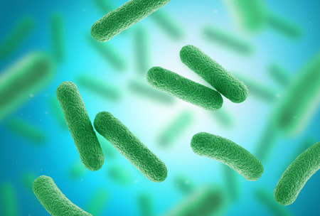 Green bacteria on blue background. Close up. 3d illustration.