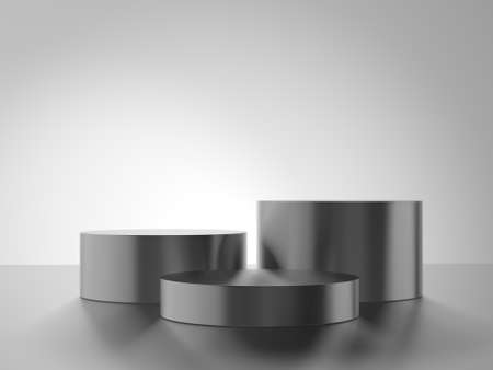 Cylinder metal podium isolated on gray