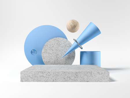 Abstract shapes. Template for visualizing products. Exhibition. 3d illustration. Blue and gray. Wood and concrete. Foto de archivo - 154734791