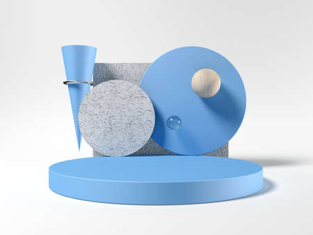 Abstract shapes. Template for visualizing products. Exhibition. 3d illustration. Blue and gray. Wood and concrete. Hundred.