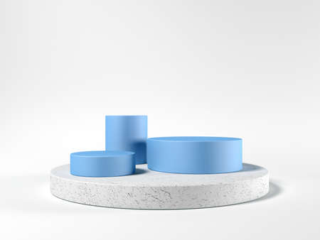 Cylinder podium. Template for visualizing products. Exhibition. 3d illustration. Blue and gray. Abstract shapes.