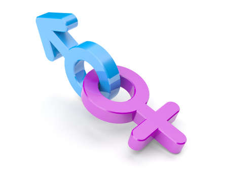 Gender symbols isolated on white background. Male and female. Pink and blue. 3d illustration.