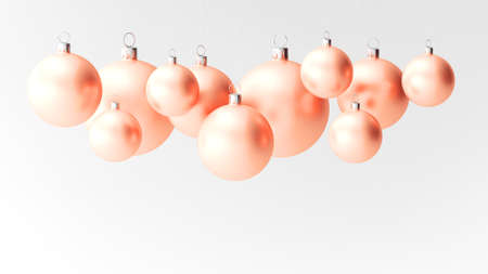 Christmas baubles isolated on white background. Peach color. 3d illustration.