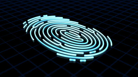 Finger print on dark background. Security and identify. Biometric technology. 3d illustration.