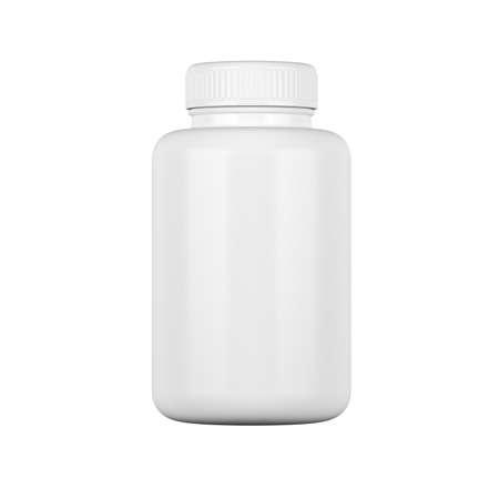 White plastic medicine bottle isolated on white background. Supplement Packaging. Pills. 3d illustration.
