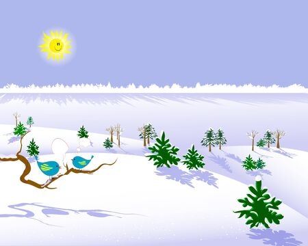 Two birds on a branch with speech bubbles against a winter landscape with the smiling sun and snow-covered wood  illustration  Vector