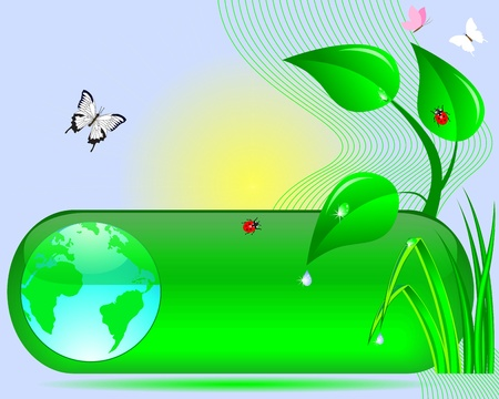 Earth Day  Web button with the globe, tree, grass, sun, butterflies and ladybirds illustration  Vector