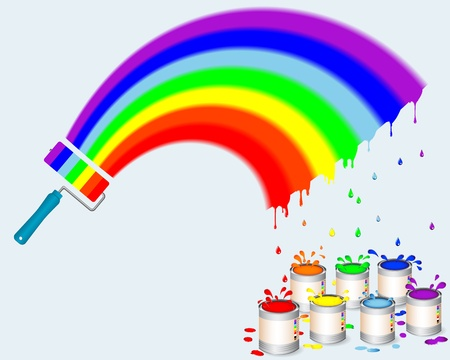 Rainbow paint roller with pots of paint and a drops splash  illustration  Illustration