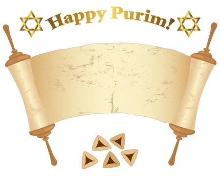 purim: Old Torah scroll, David stars and Pies isolated on white  illustration