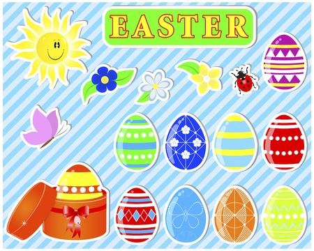 Set of cute easter stickers   Vector