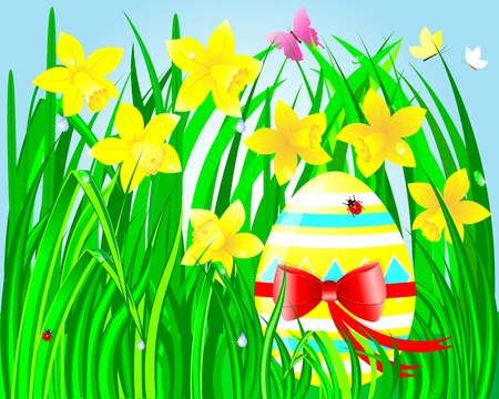 Easter egg with a bow in the green grass with beautiful daffodils and butterflies, ladybugs and a drop of dew illustration  Vector