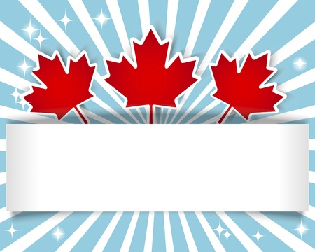 Canada Day  Holiday Banner with stickers and maple leaves illustration