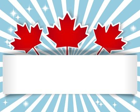 hojas de maple: D�a de Canad� Bandera de vacaciones con pegatinas y hojas de arce ilustraci�n Vectores
