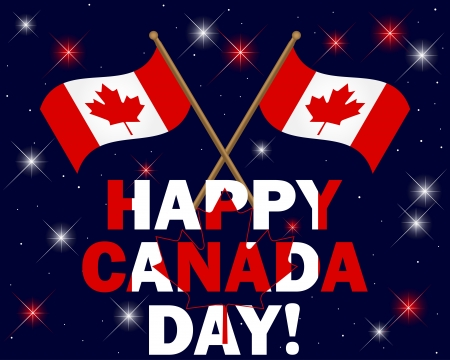 tag und nacht: Canada Day Hintergrund mit Feuerwerk, Text und Flaggen illustration