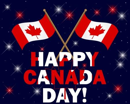 Fond fête du Canada avec des feux d'artifice, texte et illustration des drapeaux Vecteurs