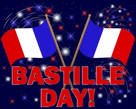 french text: Bastille Day  Celebratory background with fireworks and flags illustration  Illustration