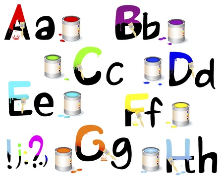 English alphabet A-H  Not fully painted letters with paint dripping, brushes and paint cans illustration  Vector