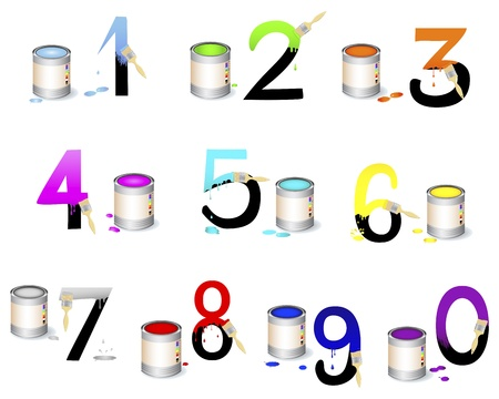 Numbers Set  Not fully painted numbers with paint dripping, brushes and paint cans illustration   Vector