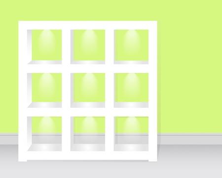 fondo luminoso: Vaciar estantes c retroiluminaci�n para su hogar o negocio ilustraci�n