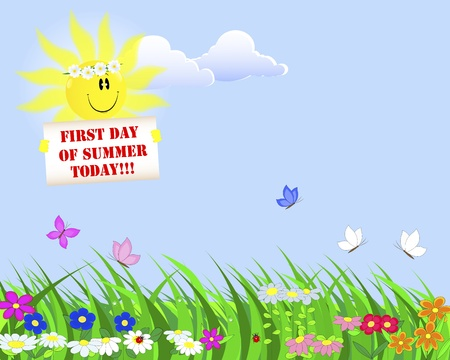 First Day of Summer  Summer landscape with a nice sun with a placard illustration  Vector