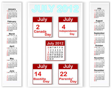 Calendar for 2012 with banners and holiday icons calendars for july 2012  American style Vector