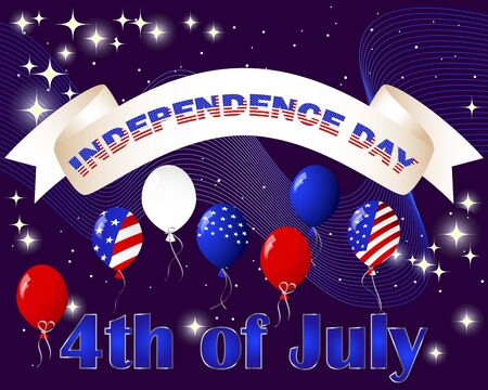 Happy Independence Day  Celebratory background with banner, balloons and fireworks illustration  Vector