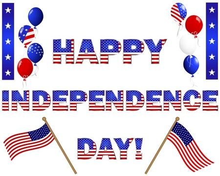Independence Day  Celebratory text, flags and balloons with the American flag pattern on white illustration  Vector
