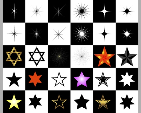 Set of stars on a black and white illustration  Vector