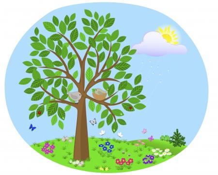 day care: Albero con uccelli e nidificano sullo sfondo del paesaggio estivo con fiori e insetti Illustrazione