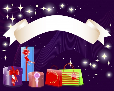 Holiday background with a banner, gifts, parcels and shining stars illustration  Stock Vector - 14169503